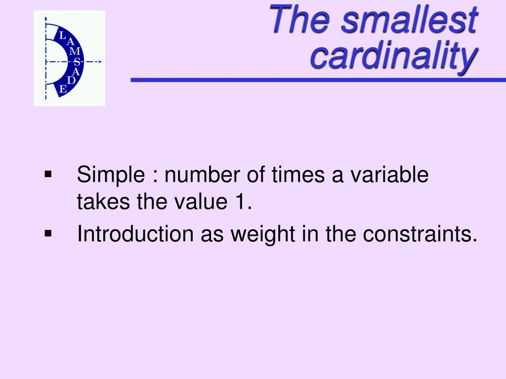 The smallest cardinality