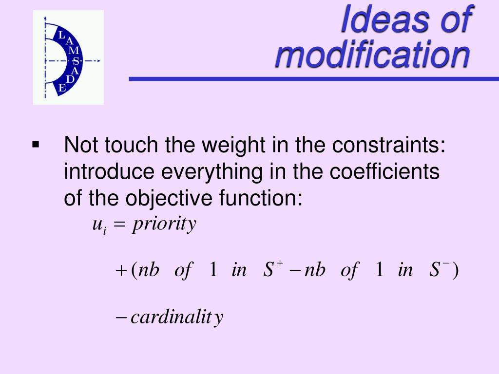 Ideas of modification