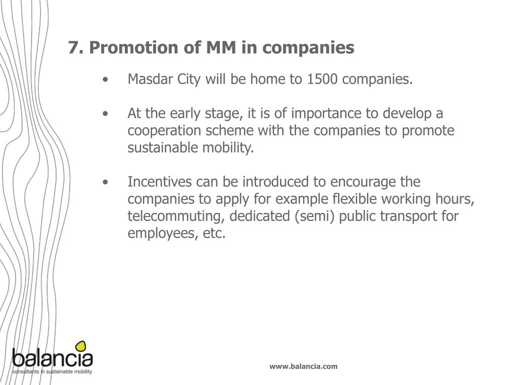 7. Promotion of MM in companies