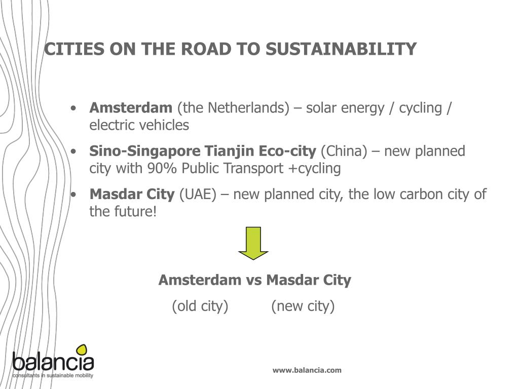 CITIES ON THE ROAD TO SUSTAINABILITY