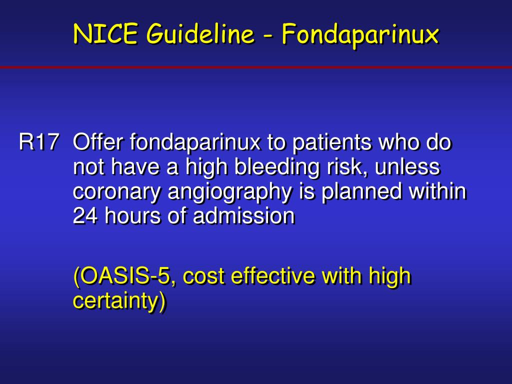 NICE Guideline - Fondaparinux