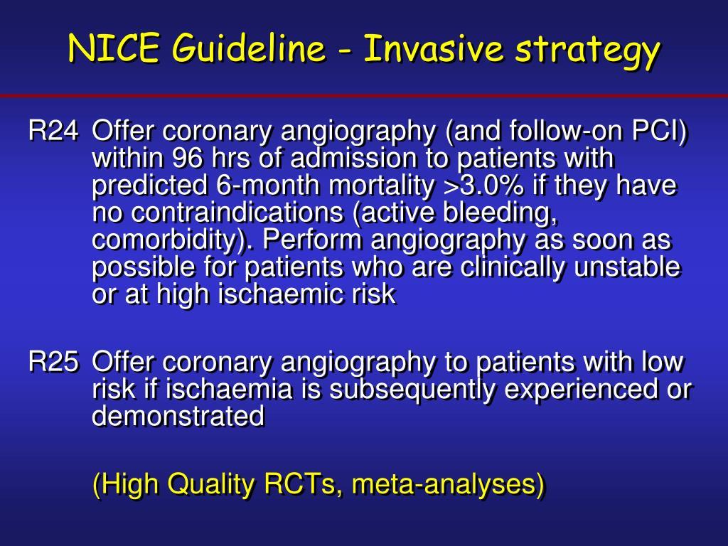 NICE Guideline - Invasive strategy