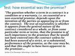 test how essential was the promise