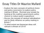 essay titles dr maurice mullard