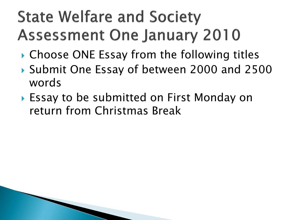 state welfare and society assessment one january 2010 l.