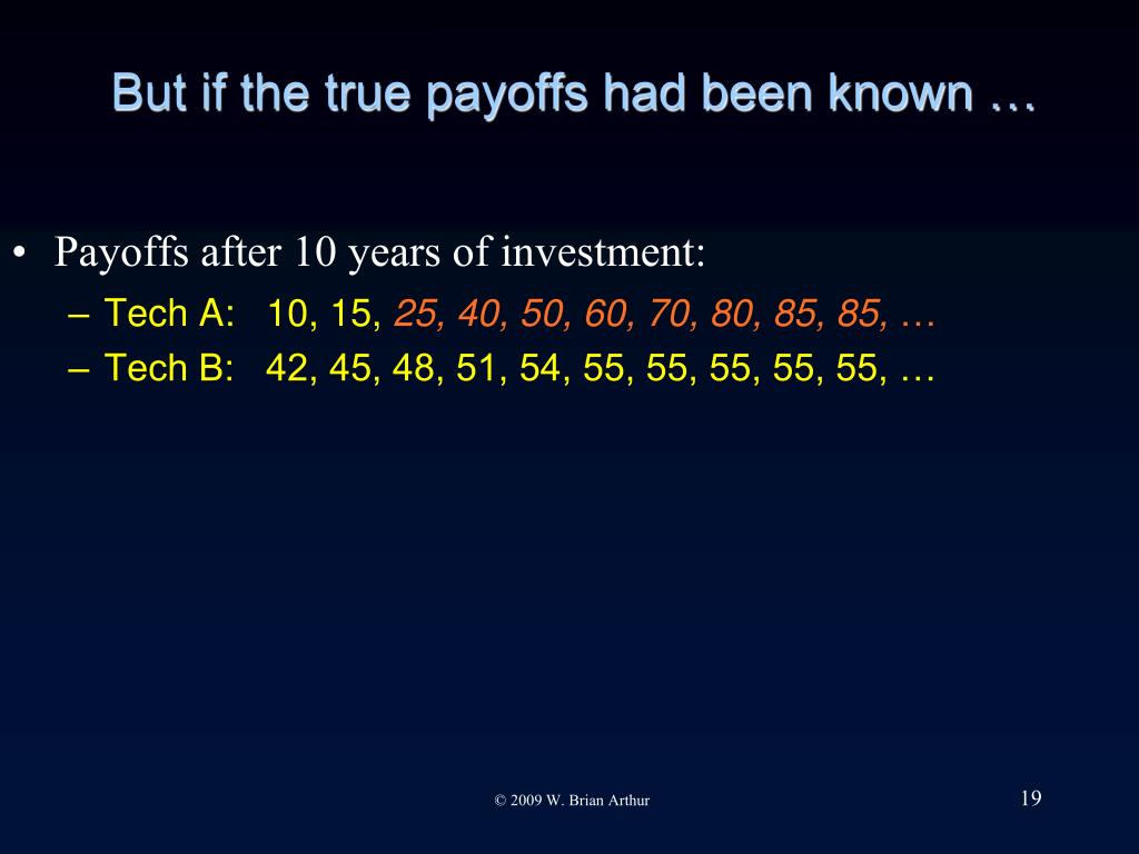 But if the true payoffs had been known …