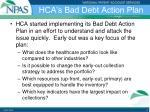 hca s bad debt action plan