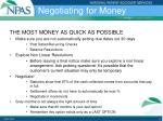 negotiating for money