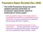 parameters report revisited nov 2006