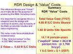 rdr design value costs