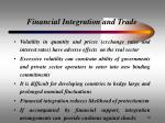 financial integration and trade