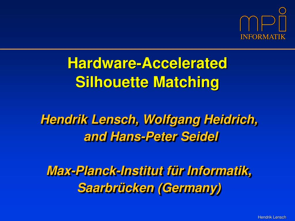 hardware accelerated silhouette matching l.