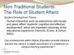 non traditional students the role of student affairs