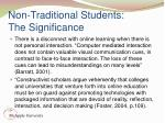 non traditional students the significance