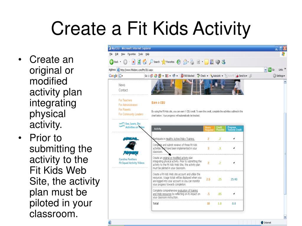 Create a Fit Kids Activity