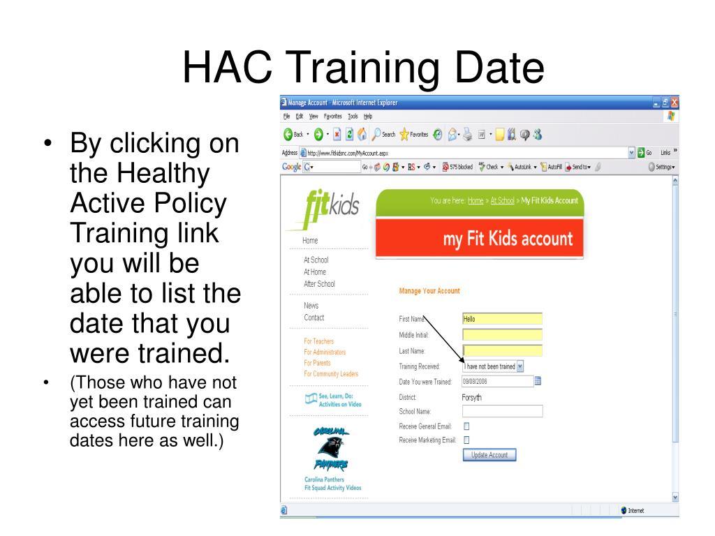 HAC Training Date