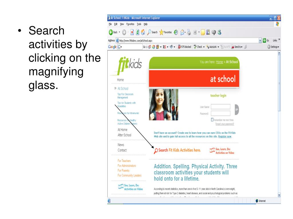 Search activities by clicking on the magnifying glass.