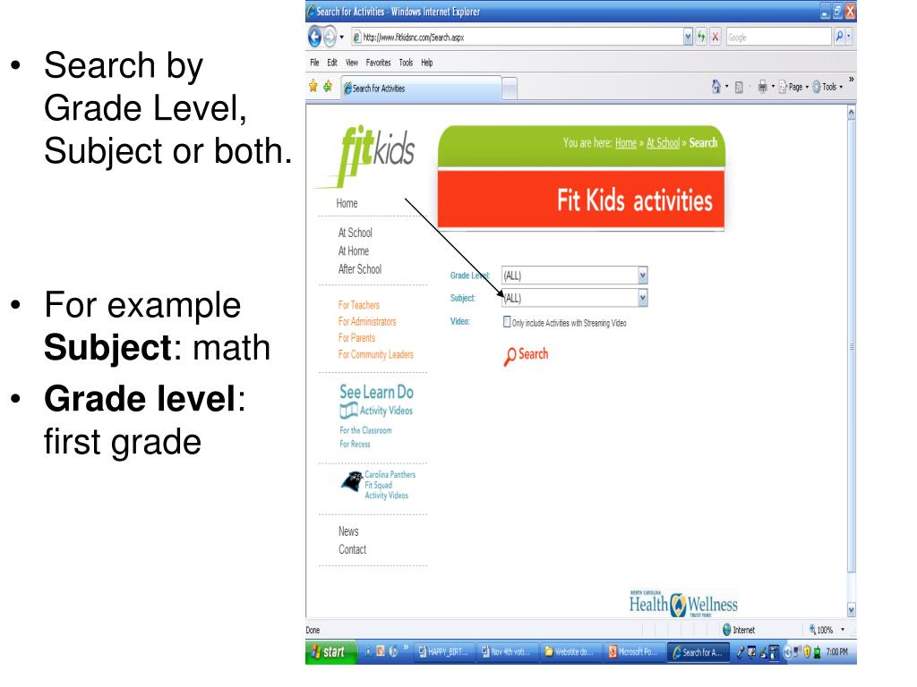 Search by Grade Level, Subject or both.