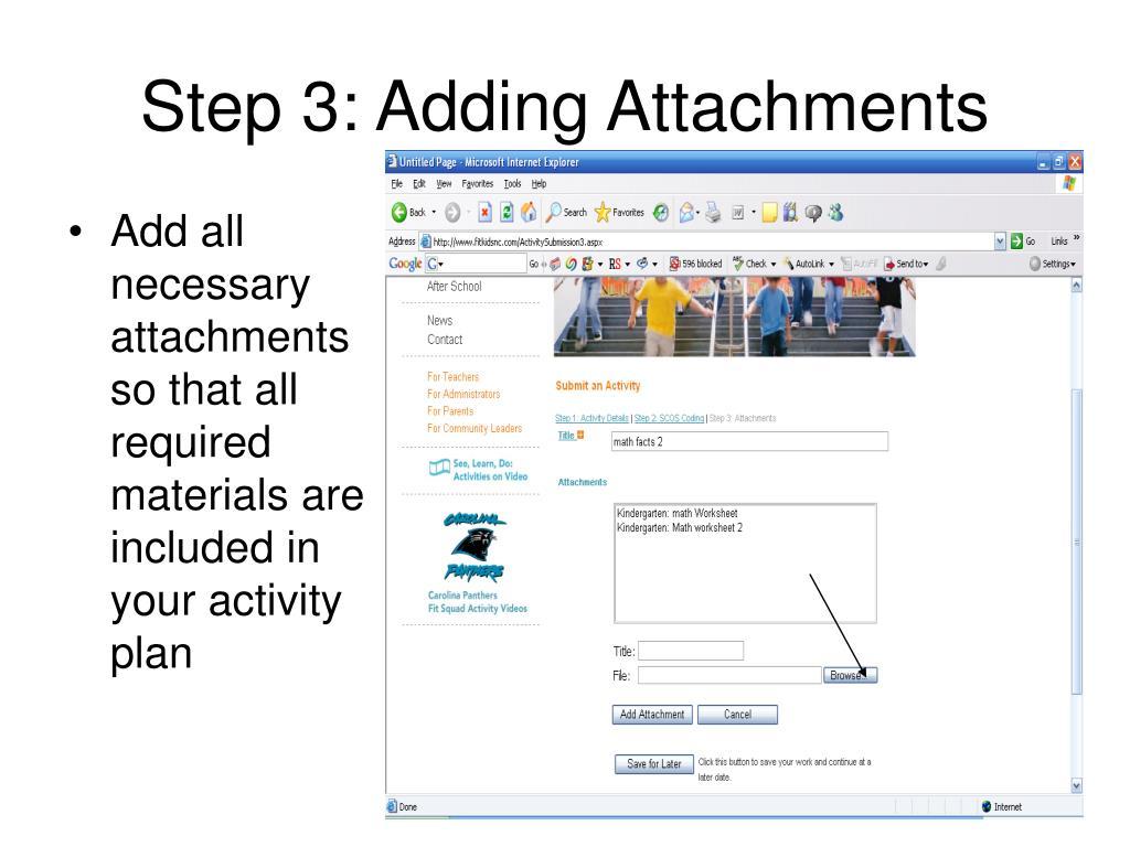 Step 3: Adding Attachments