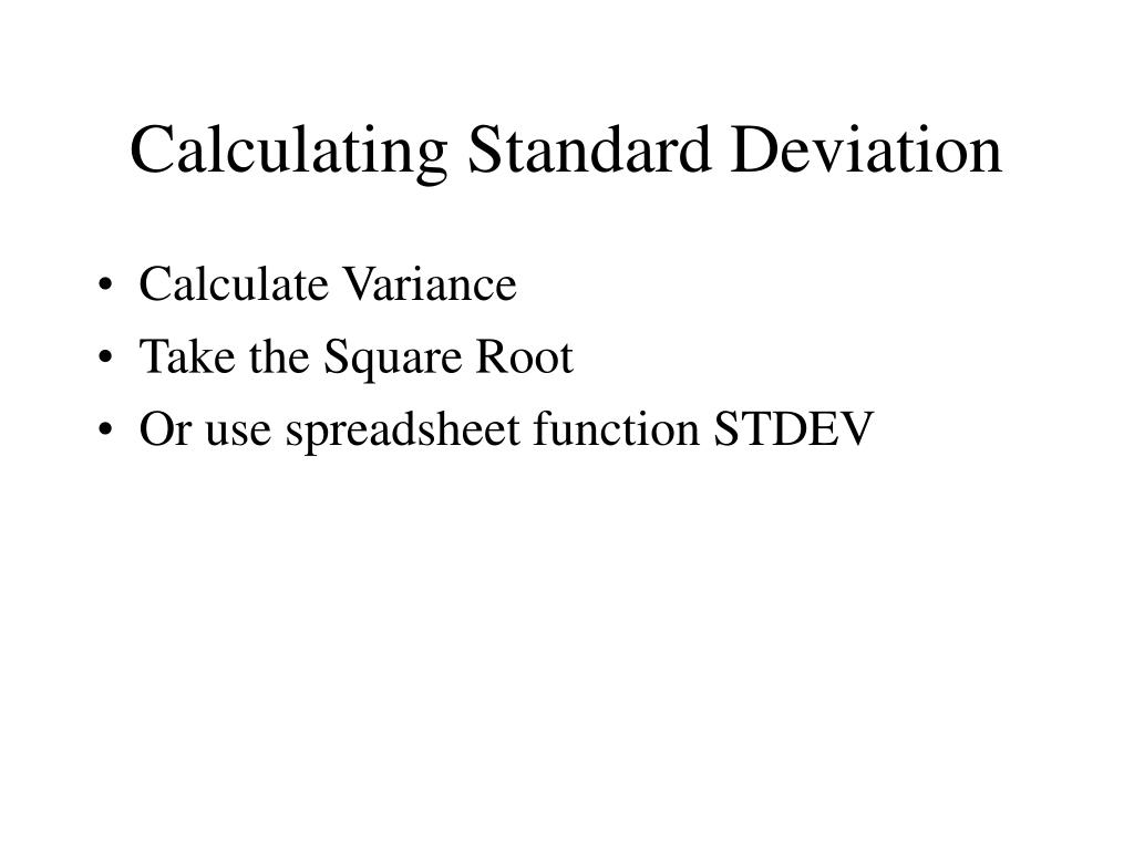 Calculating Standard Deviation