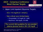 aace consensus conference blood glucose targets