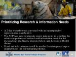 prioritizing research information needs