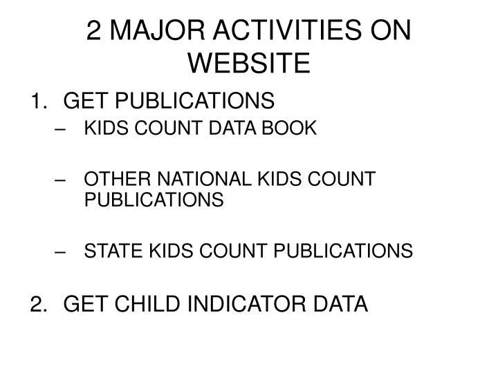 2 major activities on website