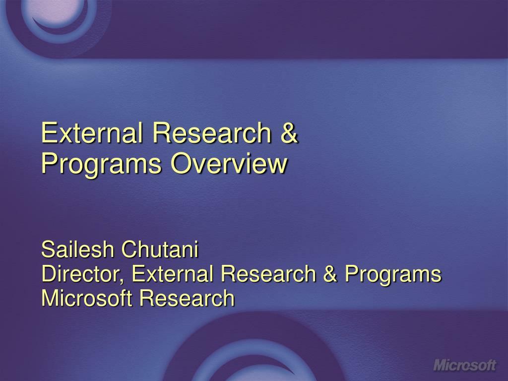 external research programs overview l.