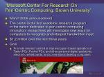 microsoft center for research on pen centric computing brown university