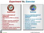 experiment vs exercise