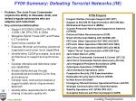 fy09 summary defeating terrorist networks iw