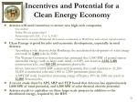 incentives and potential for a clean energy economy
