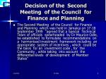 decision of the second meeting of the council for finance and planning