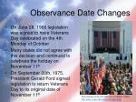 observance date changes