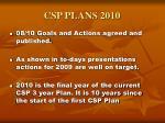 csp plans 2010