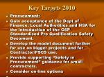 key targets 2010