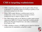 cms is targeting readmissions