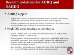 recommendations for ahrq and nahdo