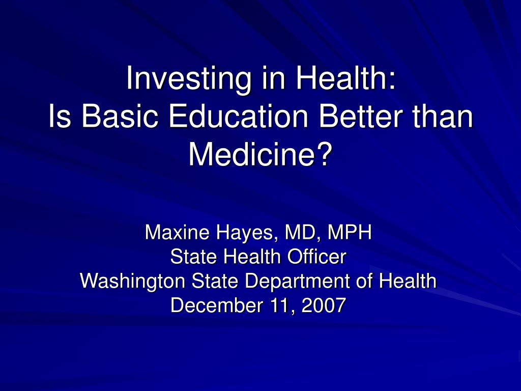 investing in health is basic education better than medicine l.