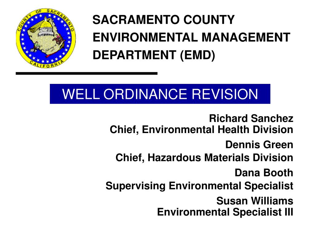 well ordinance revision l.