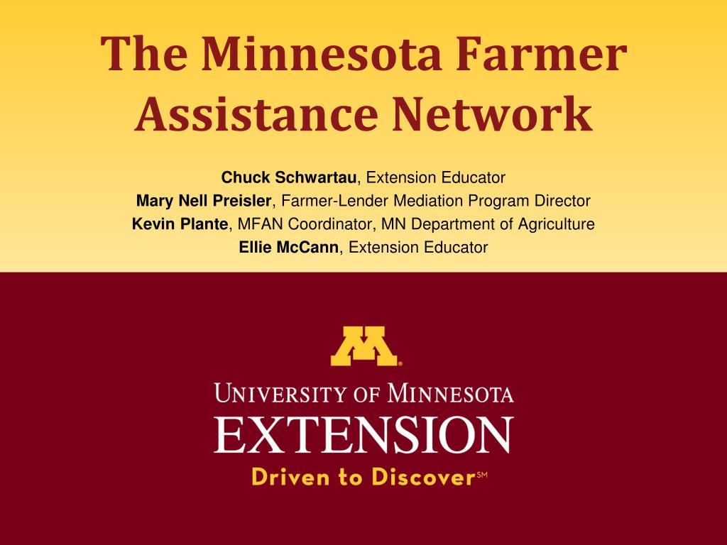 the minnesota farmer assistance network l.