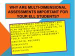 why are multi dimensional assessments important for your ell students