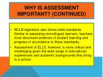 why is assessment important continued