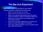 the size of an experiment