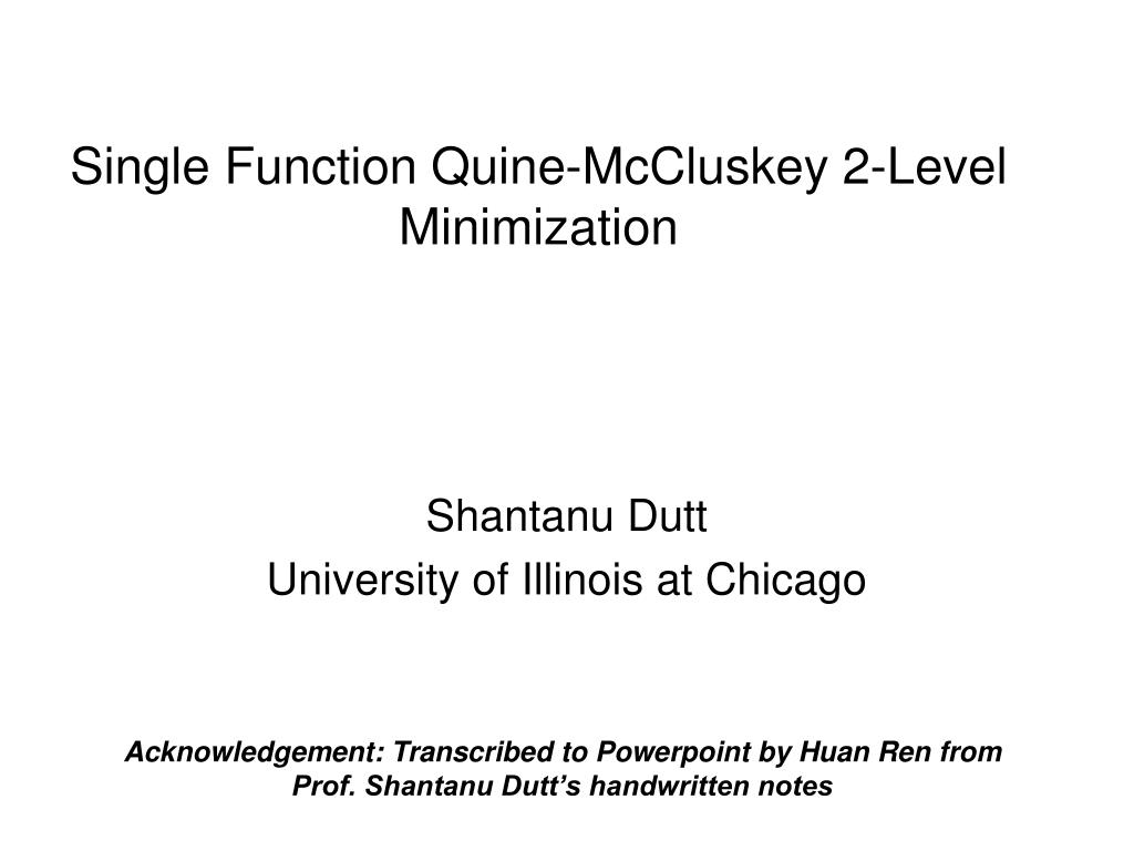 single function quine mccluskey 2 level minimization l.