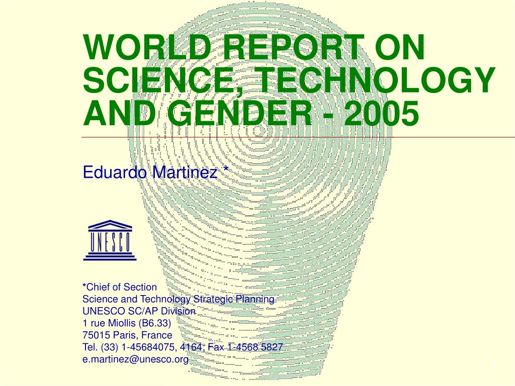 world report on science technology and gender 2005 l.