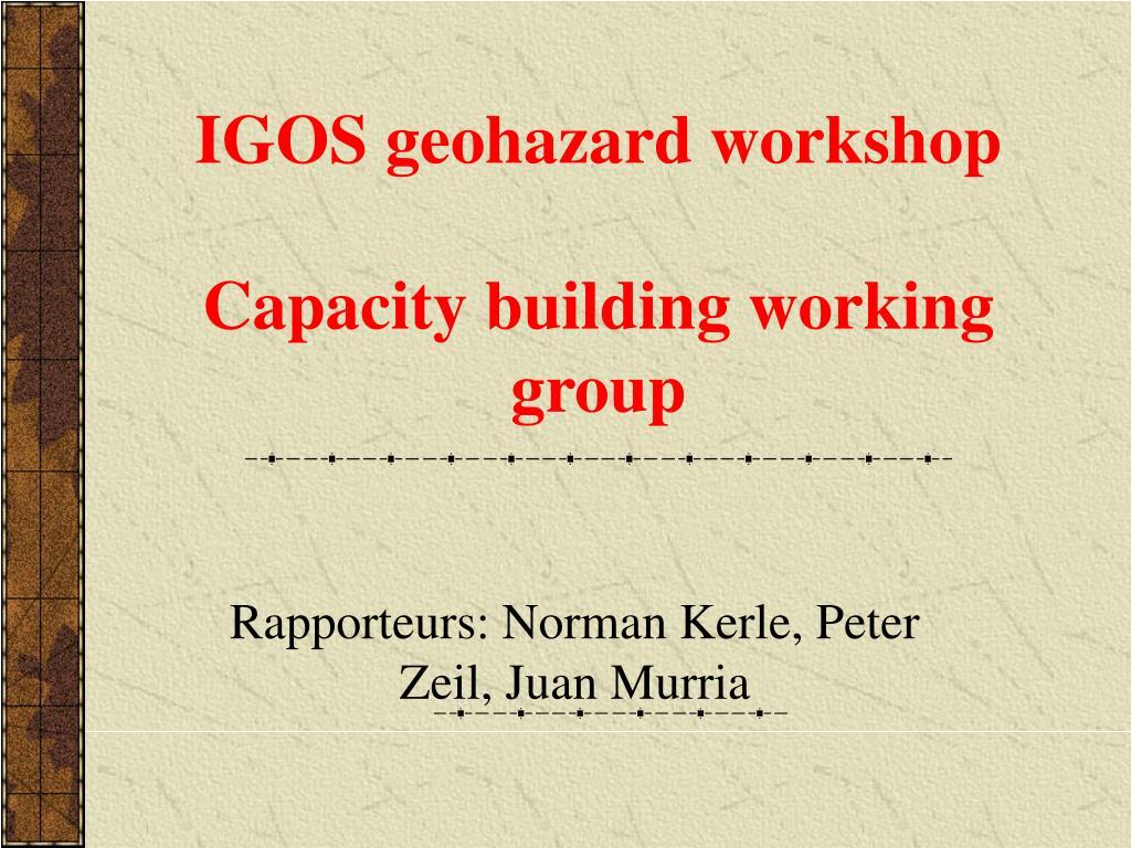 igos geohazard workshop capacity building working group l.