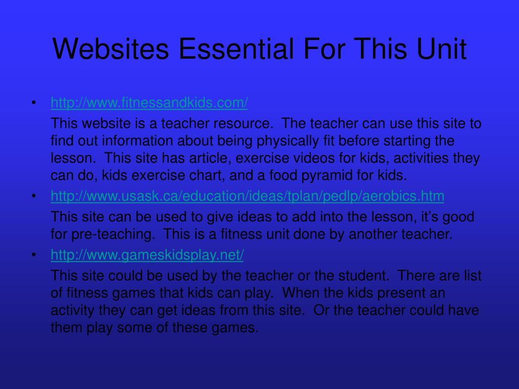 Websites Essential For This Unit