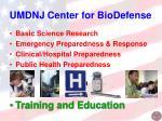 umdnj center for biodefense