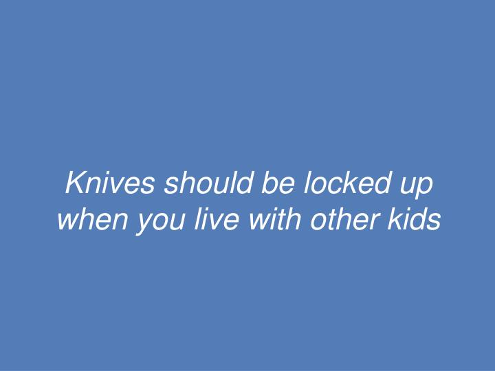 Knives should be locked up when you live with other kids